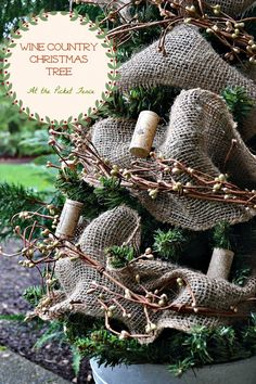 """Christmas tree decorated with corks . . . French pail . . . """"Maison de Campagne""""  (Country Villa House) . . . Stop 4 - At the Picket Fence . . . Venessa's House, Oregon"""