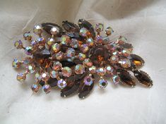 Vintage Root Beer Rhinestone Brooch by mimiyaya on Etsy, $45.00