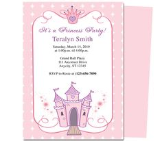 Kids Party : Princess Kids Birthday Party Invitation Template