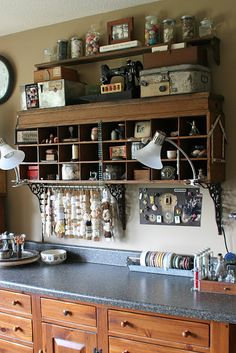 love the shelving supports (and the shelf), also the lace/ribbon storage  Mamie Jane's: Welcome To My Studio