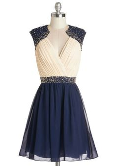 Lovely Lilt Dress - Blue, Tan / Cream, Beads, Pleats, Special Occasion, Prom, Party, A-line, Sleeveless, Woven, Better, V Neck, Mid-length, Chiffon, Mixed Media