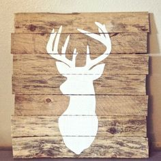 Deer Silhouette Painting On Reclaimed Pallet by HometoHomeDecor, $40.00. @Ronna Hellweg . Add gold paint or glitter to look like the one in the magazine?