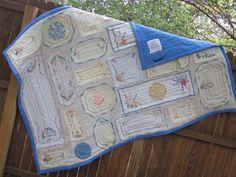 sew, idea, vintag linen, doili quilt, linens, embroid runner, dressers, doilies, heirloom quilts