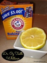 Naturl Teeth Whitener - Dr. Oz    Take 1/4 cup of baking soda and mix it with the juice of 1/2 lemon and then apply it to your teeth with a q-tip. Leave on your teeth for 1 minute then brush. This amount is more than enough for two people. I would actually reduce it to 2 TBSP baking soda with enough juice to make it a consistency to apply. teeth whitening naturally, teeth whitening dr oz, juic, all natural teeth whitening, cups, lemon and baking soda, bake soda, baking soda teeth whitening, beauti