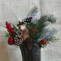 Christmas Mouse in Recycled Cowboy Boot Decoration