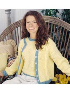 Buttercup Cardigan Set - LusterSheen was chosen to make this luscious summery cardigan duo, crocheted with seed stitches and cable twists. Designed by Lillian Jarmie free pdf