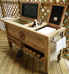 Outdoor Bar/Cooler Ideas - LOVE!