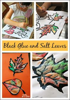 "Learn how to make these gorgeous, textured fall leaf decorations using black glue and salt with ""Mess For Less""!"