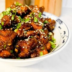 General Tao Chicken - light, crispy chicken in sticky, sweet and spicy sauce.