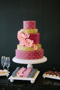 pink + gold wedding cake, photo by Jennifer Miller Photography http://ruffledblog.com/second-notwedding-wichita #weddingcake #cakes