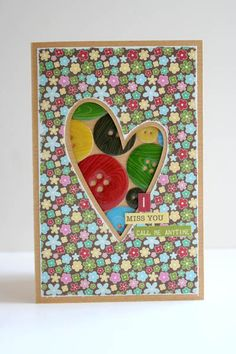 I Miss You Card by Carole Maurin using Jillibean Soup's Coconut Lime Soup Paper Pad and Coordinating Cardstock Stickers (via the Jillibean Soup blog).