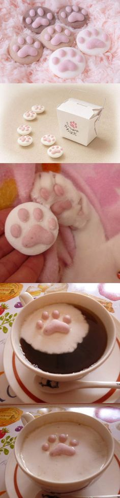 replace paws with hearts - cheesy but so cute for hot chocolate!