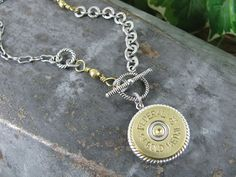 Authentic Federal Gold Medal 12 Gauge Shotgun Shell Medallion Mixed Metal Necklace by thekeyofa, $42.50