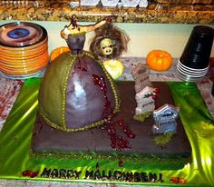Halloween zombie barbie cake