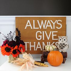 Quick and Easy Fall Shelf Décor Update with #HomeGoods  Owl, Wood Sign and Gold Mercury Glass Vase are all HomeGoods finds.  #happybydesign #sponsored #homegoodshappy