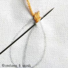 Fishbone stitch tutorial embroidery