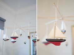 DIY sailboat crib baby mobile made from Christmas ornaments.