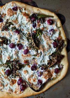 kale, pancetta, and grape pizza.