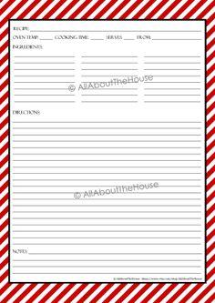 EDITABLE - Printable Stripe Recipe Template Recipe Card Recipe Organisation Recipe Binder Recipe Box Cooking Printable Recipe Album Kitchen Purchase here: https://www.etsy.com/au/listing/178071843/editable-printable-stripe-recipe?ref=shop_home_active_1