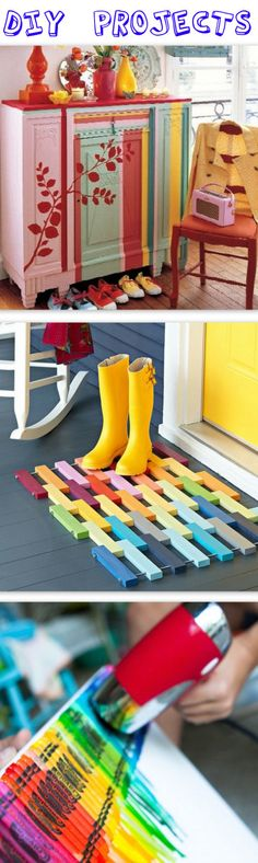 Fun and colorful Wooden Floor Mat from Lowes creative ideas  