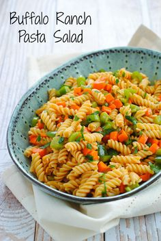 Buffalo Ranch Pasta Salad - I used a lightened up version of the suggested dressing (half olive oil/half non-fat greek yogurt) but it was delicious.  You could probably even add chicken to make it a meal.