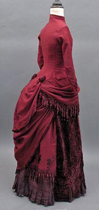 1884 Victorian Wine Wool  and Cut Velvet Bustle Dress