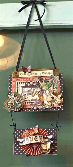 Hanging wall art using Graphic 45 Olde Curiosity Shop.  I love this paper, and this is a cute idea.
