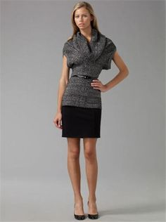 Combines two essentials: a great belted sweater and classic black skirt.