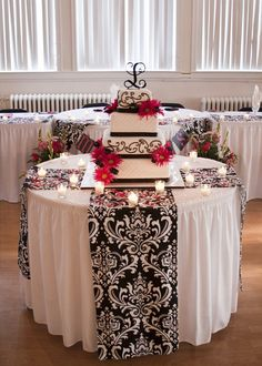 Black and White Damask Table Runner by eLmWoodWorking on Etsy, $10.00