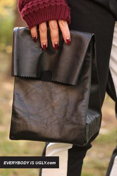 DIY Jil Sander-inspired leather lunch bag via @Chictopia