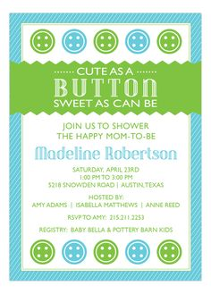 Cute as a Button Blue Baby Shower Invitation, boy, green, blue pink babi, button blue, shower invitations, blue cake, buttons, button pink, shower idea, babi shower, baby showers