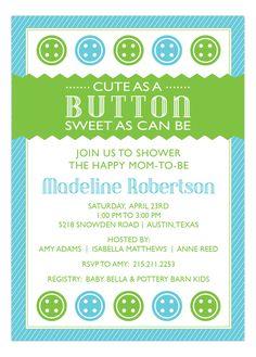 pink babi, button blue, shower invitations, blue cake, buttons, button pink, shower idea, babi shower, baby showers