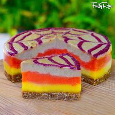 Raw Vegan Candy Corn Cheesecake for Halloween! It's FullyRaw, low-fat, nut-free, colorful, delicious, and just a tad spooky! Are you ready to trick or treat?!  Watch my new video: http://youtu.be/kLo26d5h0hY