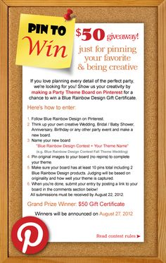 $ 50 giveaway just for pinning your favorite & being creative! Click to see Pin To Win Contest Rules #giveaway  #pinterest #contest #pintowinme