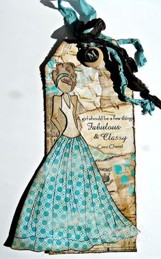 mixed media tags, prima doll, paper crafts