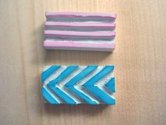 Simple stamps from Dollar Store Erasers from On My Honor...