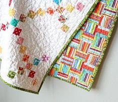 squar, craft, baby quilts, chain, colorful quilts, scrap quilt, fabric scraps, bold colors, stripe