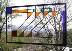 Prairie School Style Stained Glass Panel. $167.00, via Etsy.  12 by 20