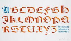 Gothique rotunda d'après Palatino par Serge Cortesi - la maison de la calligraphie au musée des lettres et manuscrits