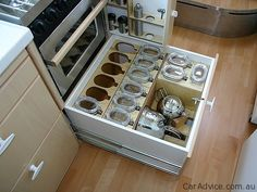organized RV kitchen organized kitchen, drawer organization, home interiors, kitchen storage, small spaces, storage ideas, kitchen drawers, rv storage, small space living