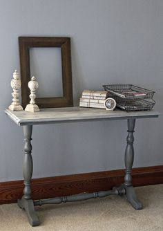 DIY grey painted table with brown glaze