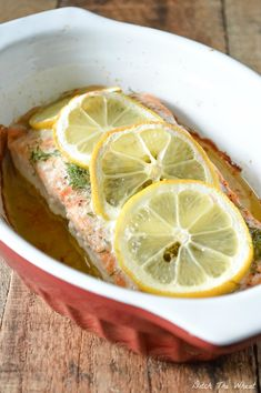 omit butter for phase 1 legalness  Baked Lemon Dill Salmon #DitchTheWheat