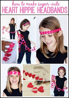 this is a cute and simple idea for Valentine's (or any time!) - a heart headband, and it's NO SEW! - - Sugar Bee Crafts: Heart Hippie Headbands - a how-to tutorial!