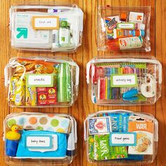 Some good ideas for things to have in the car. Snack bag, activity bag, outdoors bag, first aid kit, and BABY WIPES. I don't know how I ever lived without them.