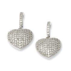 earring jewelri, cz heart, accessori women, silver cz, earring accessori, sterling silver, heart drop, earrings