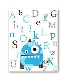 Monster Nursery Alphabet Nursery Children room Decor wall art print