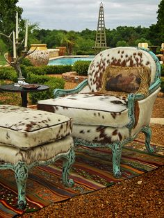 Rawhide   Brown & White Hair Hide Spotted Chair w/Turquoise