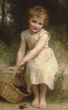 little girls, art paintings, william adolphe bouguereau, plums, basket