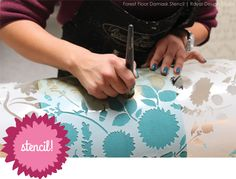 DIY stenciled lampshade project. How to use Royal Stencil Creme metallic paints with the Forest Floor Damask Stencil