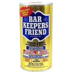 "BAR KEEPERS FRIEND:  ""The only thing that keeps my porcelain kitchen sink shining!"" Clean Suppli, Clean 101, Acrylics, Tub, Sink, Brass, Clean Product, Friend, Stainless Steel"
